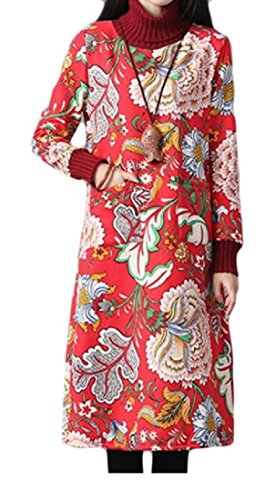 Cucitura Stampa Floreale In Collo donne S Coolred Cinese Abito Lungo Pile Alto Pattern3 A qxRCFw