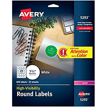 Amazon com : Avery 2 Inch Round Labels for Laser & Inkjet Printers