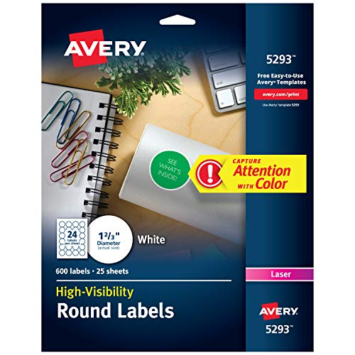 Avery High Visibility 1-2/3 Inch Diameter White Labels 600 Pack - Template Round