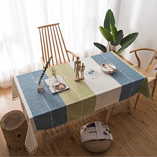 CottBelle Cotton Linen Tablecloth for Rectangle Tables, Embroidery Tassel Heavy Weight Table Cloth Wrinkle Free Table Cover for Kitchen Dinning Tabletop Decoration (55''x70'', Blue/Green/Ivory) ()