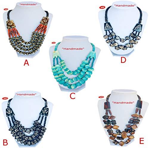 Strand Multi Bone - Himalayan Handmade Bone & Beads Multi Strand Necklace with Gift Box (Image C)