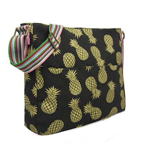 Large bag Pineapples Black bag Gold Messenger Gold Black Pineapples with Large Large with Messenger rxARravq