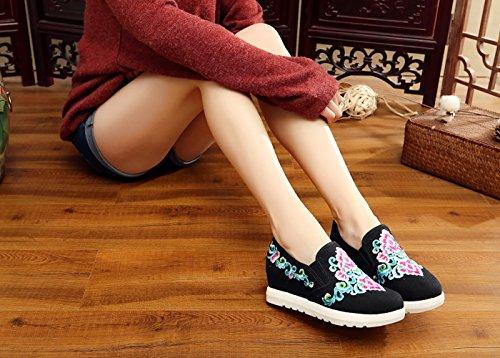 Wedges Ballerine Basse Sneaker Donna Cuneo A Icegrey Mano Ricamato Pantofola Scarpe Nero Fiore fEPaxqza
