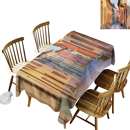 - Floral Rectangular Tablecloth W52 x L70 Italy Narrow Paves Street Among Old Houses in Town Serralunga DAlba Piedmont Pale Orange Brown Pink Ideal for Buffet Tables Parties Gala Dinners Weddings etc.