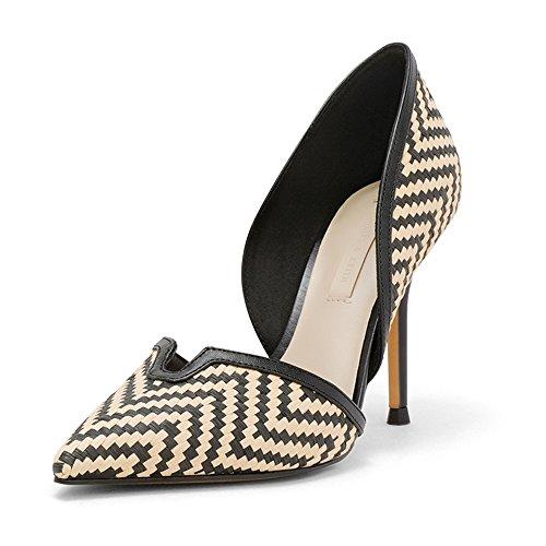 Farbe Sommer UK6 Schuhe Prinzessin Flacher Neue LHA Mit 5 Schwarz Thin CN40 EU39 Fein High Sexy Frische Schuhe Frühjahr Hochhackige Weibliche Mund Heels Spitzen 1IxIHwO