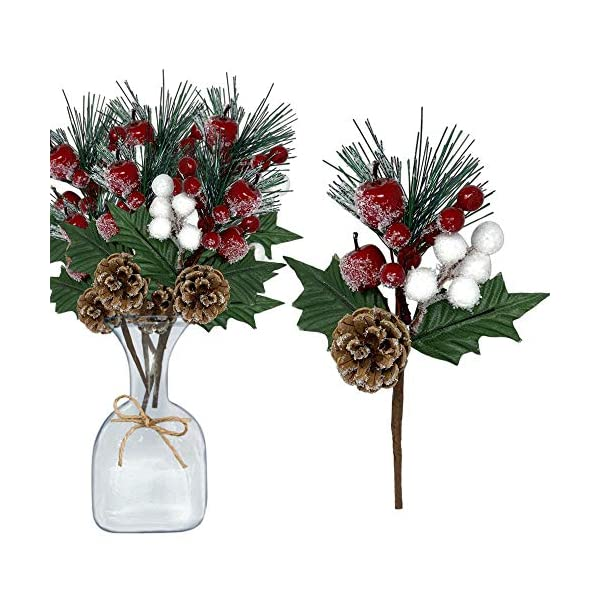 Pine Picks Set of 10 – Christmas Greenery Snow Flocked Pinecone Red Berries White Cotton Floral Sprays Flexible Bendable Stems – DIY for Trees Wreaths Flower Arrangements Rustic Home Décor
