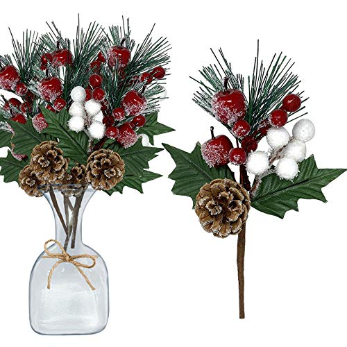 Pine Picks Set of 10 - Christmas Greenery Snow Flocked Pinecone Red Berries White Cotton Floral Sprays Flexible Bendable Stems - DIY for Trees Wreaths Flower Arrangements Rustic Home Décor (Greenery Trees)