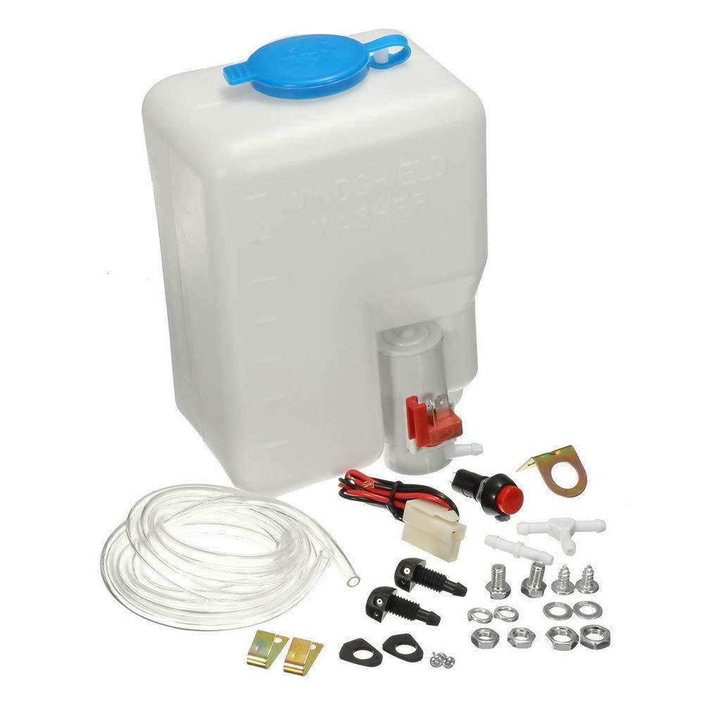 Leslaur Kit de Tanque de Botella de Lavadora Universal Bomba 12V 1.8L Dep/ósito del Sistema de limpiaparabrisas