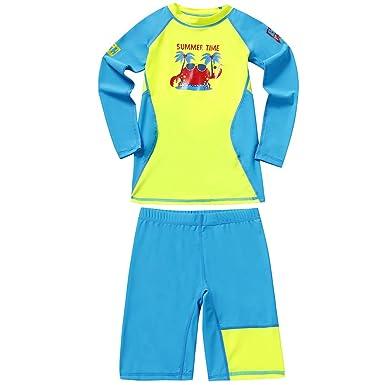 Niños Niñas Traje de Neopreno - Traje de baño Dos Piezas Manga Larga Proteccion Solar UV 50+ Niñito Bodysuit Guardia de Erupción Playa Bebé Piscina