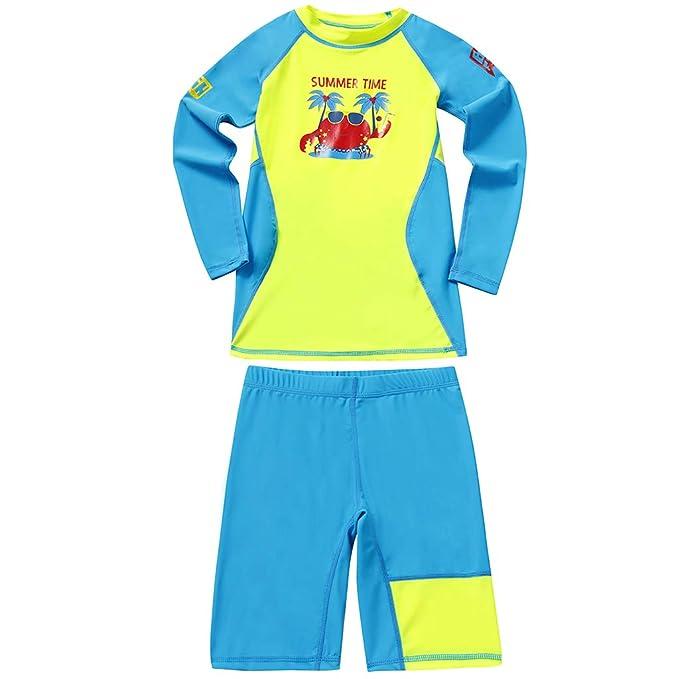 Niños Niñas Traje de Neopreno - Traje de baño Dos Piezas Manga Larga  Proteccion Solar UV 50+ Niñito Bodysuit Guardia de Erupción Playa Bebé  Piscina  ... c5d452a3fa45c
