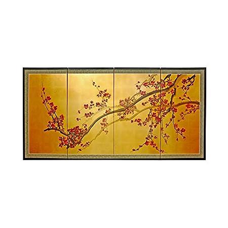 Oriental Furniture Plum Tree on Gold Leaf - 36' SILK-PLUMTREE-36H