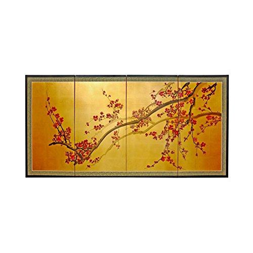 """Oriental Furniture Plum Tree on Gold Leaf - 18"""""""