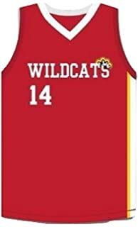 546cd6c26 Boriz Zac E Troy Bolton 14 East High School Wildcats Claws Red Stitch Basketball  Jersey