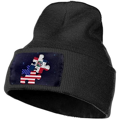 Boys and Girls Beanie Hat Dominican Republic American Flag Puzzle Piece Classic Cuffed Plain Skull Knit Hat Cap Sports & Outdoors Watch Cap Black
