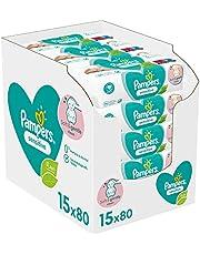 Pampers Sensitive Billendoekjes, 1200 Babydoekjes, Unieke pH Beschermende Formule, Zonder Parfum, Dermatologisch Getest (15 x 80 Doekjes), (verpakking kan variëren)