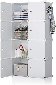 YOZO Portable Closet Plastic Dresser Organizer Cube Storage Modular Wardrobe Pantry Cabinet for Bedroom, 8 Cubes, Depth 18 inches, White