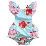Canis Baby Girls' Full Flower Print Buttons Ruffles Romper Bodysuit with Headband (70(0-6M), Blue(No Headband))