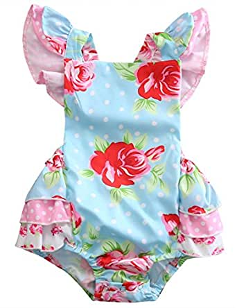 Baby Girls' Full Flower Print Buttons Ruffles Romper Bodysuit with Headband (70(0-6M), Blue(no headband))