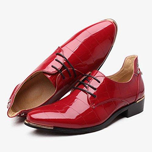 Jiyaru Mens Wingtips Oxford Scarpe Stringate Abito Classico Rosso Appartamenti