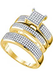 10K Yellow Gold Diamond Mens and Ladies Couple His & Hers Trio 3 Three Ring Bridal Matching Engagement Wedding Ring Band Set - Square Princess Shape Center Setting w/ Micro Pave Set Round Diamonds - (.63 cttw) - Please use drop down menu to select your desired ring sizes