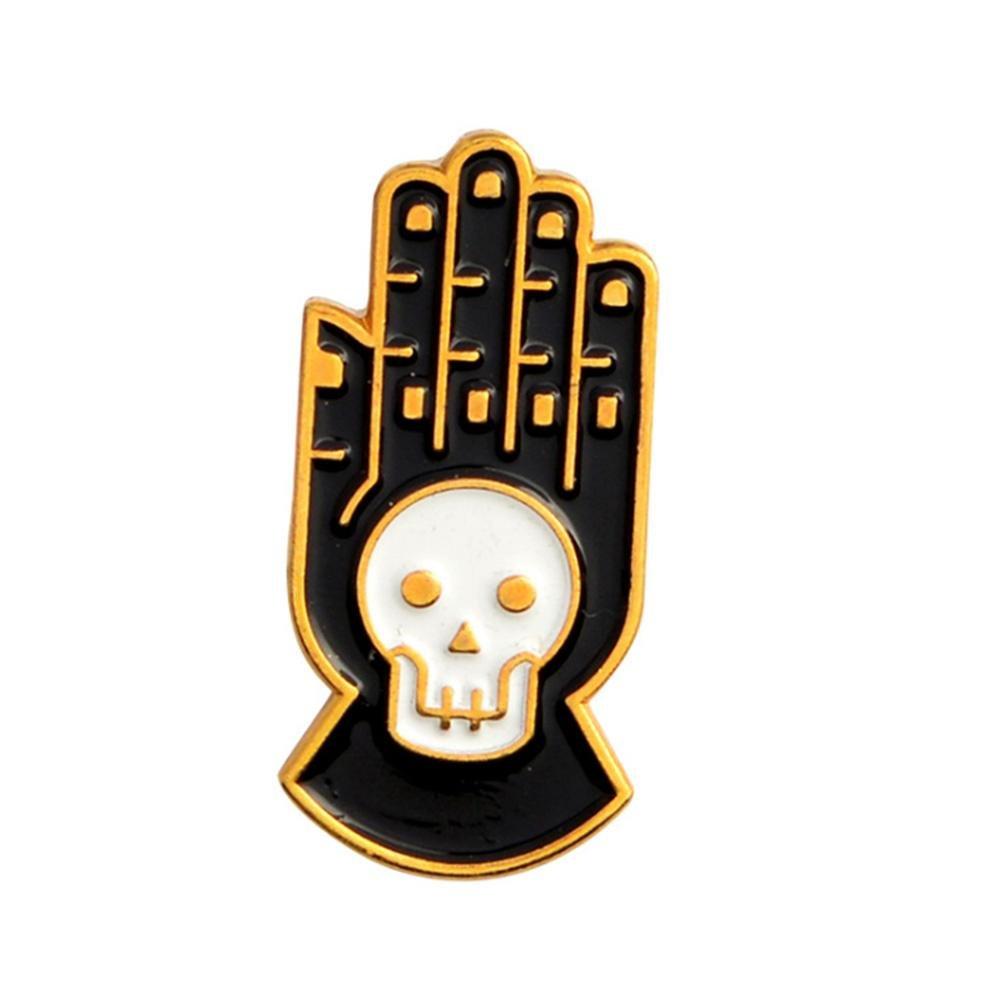 Febelle Punk Gothic Skelett Kopf Hände Emaille Pins Broschen Kleidung Dekore