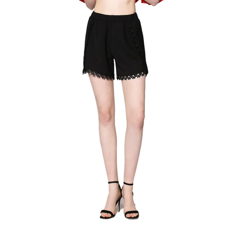 MUSENDA Plus Size Women Black Thin Mid Elastic Waist Shorts Lady Casual Beach Shorts