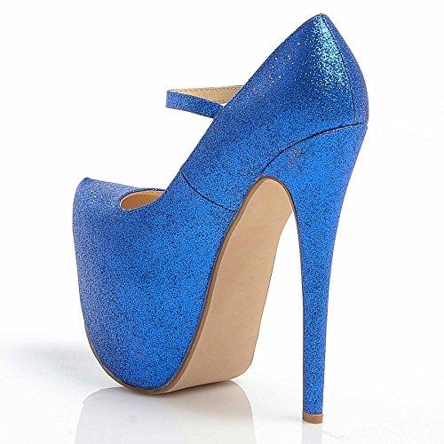Damen Mary Jane Stiletto High Heel Party Plattform Ankle Strap Schuhe Größe 3