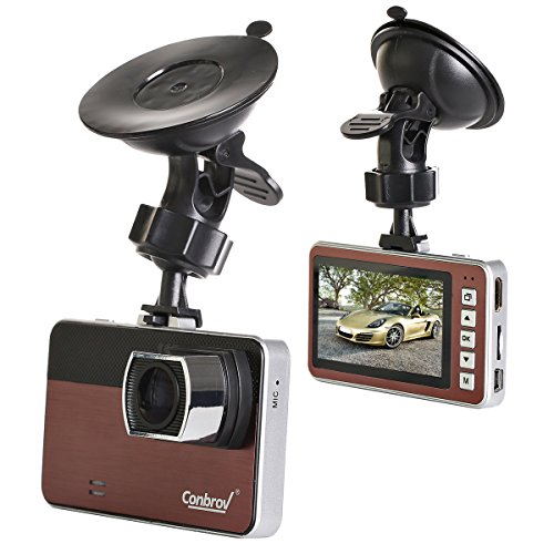 Conbrov Ultra Full H.264 1080p DVR Dashboard Vehicle Camera with 2.7-Inch LCD Screen, 170 Wide Angle Lens, Support G-Sensor, WDR, Parking Guard and Loop Recording