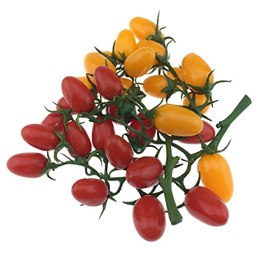 Gresorth 2 Pack Lifelike Artificial Cherry Tomatoes Faux Fake Cherries Home House Kitchen Cabinet Decor (Red + Yellow) by Gresorth