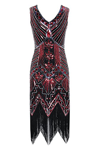 Metme Women's 1920s V Neck Beaded Fringed Gatsby Theme Flapper Dress for Prom -