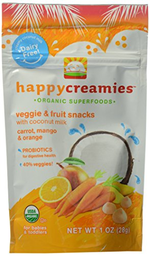 Happy Creamies Organic Fruit and Veggie Snack Carrot, Mango and Orange, 1 oz