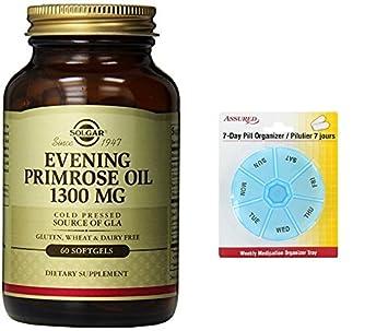 Suplemento de aceite de onagra Solgar, mg 1300, cuenta 60 con gratis 7 días