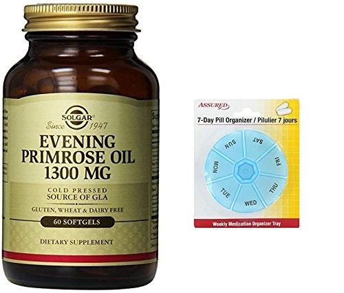 Amazon.com: Suplemento de aceite de onagra Solgar, mg 1300, cuenta 60 con gratis 7 días plástico píldora organizadores: Health & Personal Care