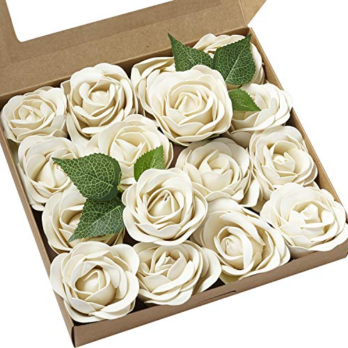 - Ling's moment Real Touch Artificial Rose Flower 16pcs Ivory Peonies Real Looking Fake Peony w/Stem DIY Wedding Bouquet Centerpieces Reception Arrangements Party Baby Shower Home Décor