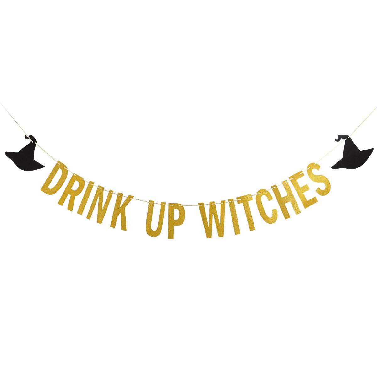 Gold Glittery Drink Up Witches Banner -Halloween Party Decoration Supplies