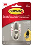 Command Forever Classic Small Metal Hook, Brushed Nickel