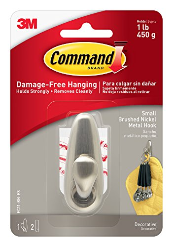 Command Forever Classic Metal Hook, Small, Brushed Nickel, 1-Hook (FC11-BN-ES) - Decorative Metal Finishes