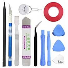 EMiEN Professional Opening Pry Tool Repair Kit with Dual Side Tape Adhesive for Repairing iPhone iPad Macbook Cell Phone Tablet Laptop,Including Spudgers, Anti-Static Tweezers, Precision Knife Set