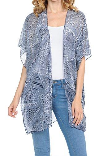 BASICO Women's Open Asymmetrical Hem Print Chiffon Vest Cardigan (One Size, Cardigan # Aztec Navy)