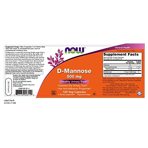 NOW D-Mannose 500 mg,120 Veg Capsules by NOW Foods (Image #1)