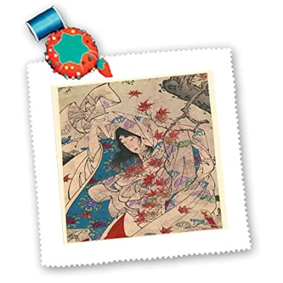 3dRose qs_162815_10 Asian Woodcut from 1800S Autumn Moon-Quilt Square, 25 by 25-Inch