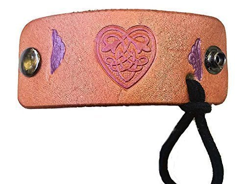 Pink Celtic Heart Small Leather Hair Wrap