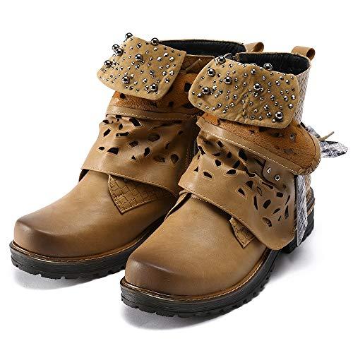 Stivaletti Casual Boots Con Da Stivale Cowgirl Elecenty Donna In Inverno Per Moda Pelle Stivali Scarpe Piatto Cerniera Marrone Laterale Autunno qUAaIT