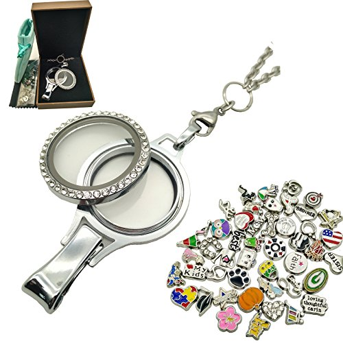 Floating Locket Charm Lanyard Twist Screw Open with Badge ID Holder Keychain Name Stainless Steel 30 Inch Necklace Rolo Chain W/ No Repeat 50pcs floating Charms Lot (Random) + Gift Box (Twist Style)