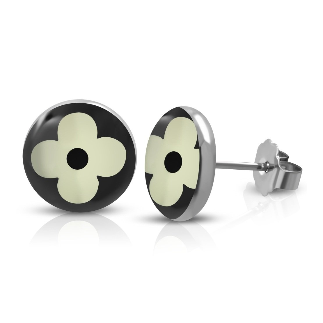 Stainless Steel 3 Color Flower Circle Stud Earrings pair