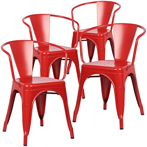Chairs Red Set 4 (Poly and Bark Trattoria Arm Chair in Red (Set of 4))