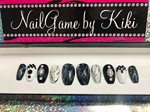 Absolutely Marblelous Hand Designed Fake Nails False Nails Black Nails Marble Nails Marble Nail Charms Hand Designed Press on Nails Glue on Nails Custom Nails by NailGame by Kiki