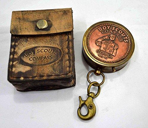 Brass Nautical Boy Scout Pocket Compass 2 inch Compass in Gift Case by Brass Nautical