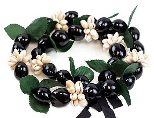 Barbra Collection Hawaiian Style Black Kukuinut with Cowry Shell & Green Leaf Necklace 30inch