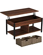 Rolanstar Coffee Table, Lift Top Coffee Table with Rattan Baskets and Hidden Compartment, Retro Central Table with Wooden Lift Tabletop and Metal Frame, for Living Room